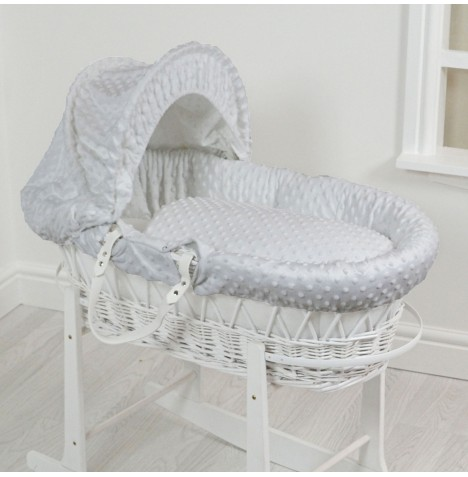 4Baby Luxury Padded White Wicker Baby Moses Basket - Grey Dimple