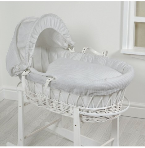 4Baby Luxury Padded White Wicker Baby Moses Basket - Grey Waffle