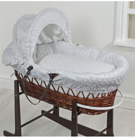 4Baby Luxury Padded Dark Wicker Baby Moses Basket - Grey Dimple