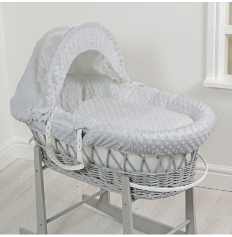 4Baby Luxury Padded Grey Wicker Baby Moses Basket - Grey Dimple