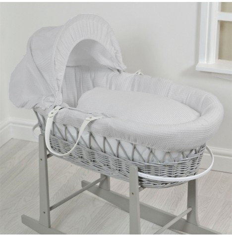 4Baby Luxury Padded Grey Wicker Baby Moses Basket - Grey Waffle