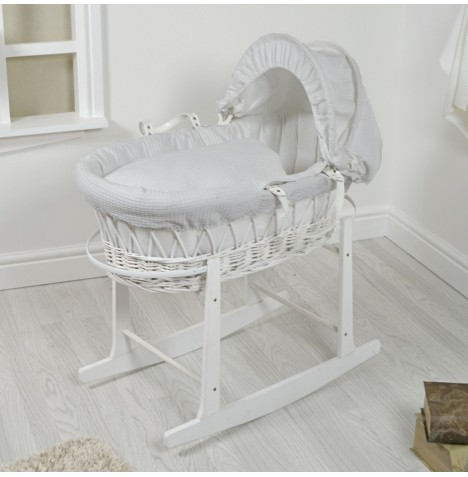 4Baby Padded White Wicker Moses Basket & Rocking Stand - Grey Waffle