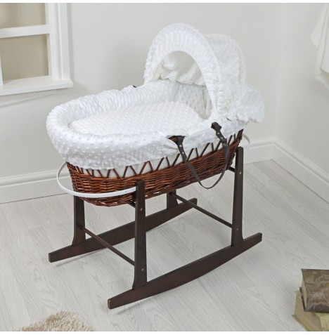 4Baby Padded Dark Wicker Moses Basket & Rocking Stand - White Dimple..