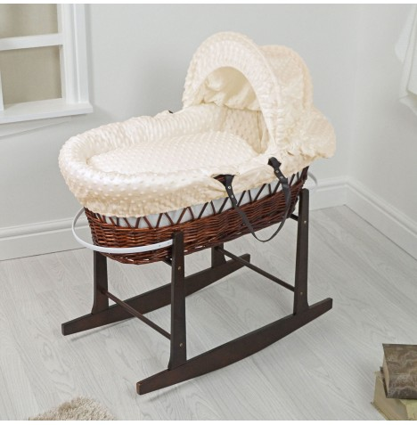 4Baby Padded Dark Wicker Moses Basket & Rocking Stand - Cream Dimple..