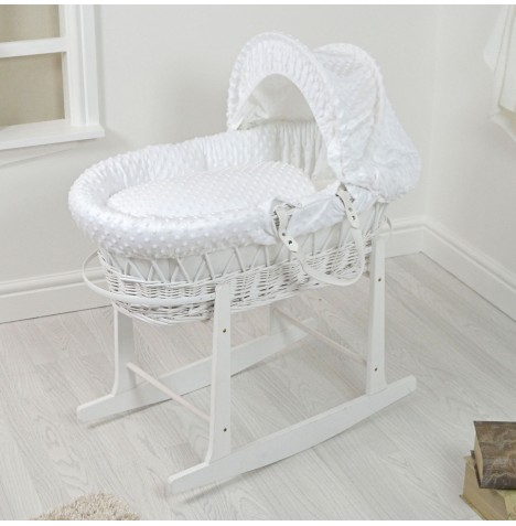 4Baby Padded White Wicker Moses Basket & Rocking Stand - White Dimple..