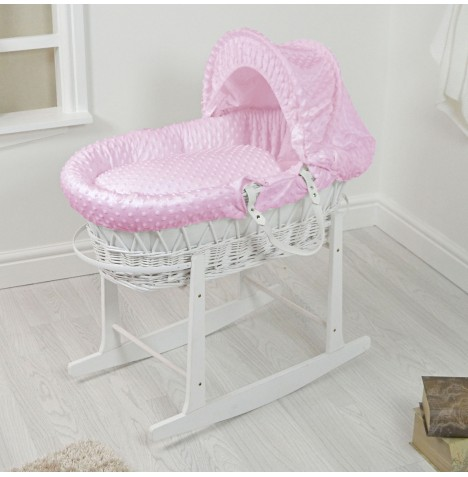 4Baby Padded White Wicker Moses Basket & Rocking Stand - Pink Dimple..