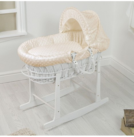 4Baby Padded White Wicker Moses Basket & Rocking Stand - Cream Dimple..