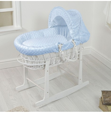 4Baby Padded White Wicker Moses Basket & Rocking Stand - Blue Dimple..