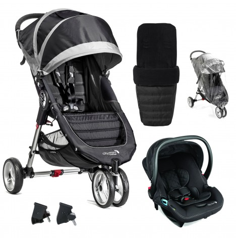 Baby Jogger City Mini Travel System (With Footmuff & Raincover) - Black