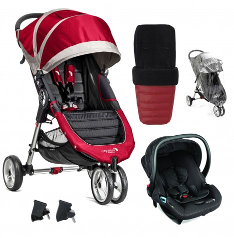 Baby Jogger City Mini Travel System (With Footmuff & Raincover) - Crimson