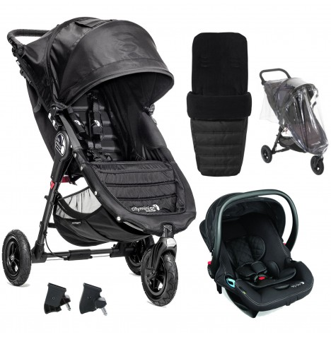 Baby Jogger City Mini GT Travel System With Footmuff & Raincover - Black