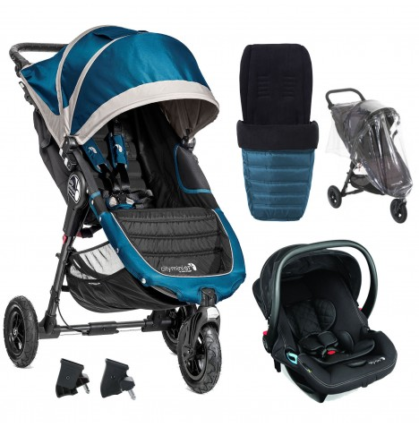 Baby Jogger City Mini GT Travel System With Footmuff & Raincover - Teal