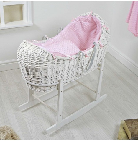 4baby White Wicker Snooze Pod & Rocking Stand - Pink Dimple..