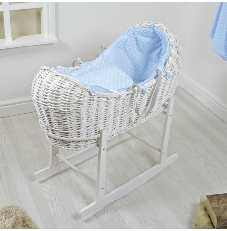 4baby White Wicker Snooze Pod & Rocking Stand - Blue Dimple..