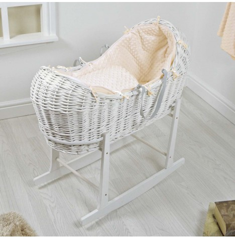 4baby White Wicker Snooze Pod & Rocking Stand - Cream Dimple..