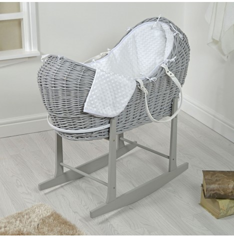 4baby Grey Wicker Snooze Pod & Rocking Stand - White Dimple..