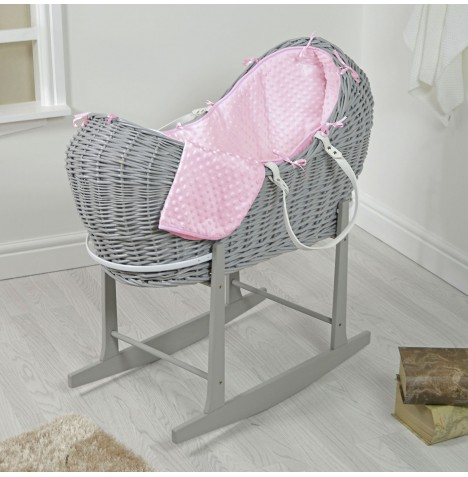4baby Grey Wicker Snooze Pod & Rocking Stand - Pink Dimple..