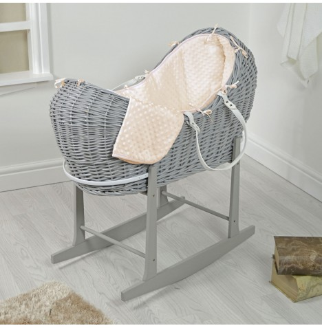 4baby Grey Wicker Snooze Pod & Rocking Stand - Cream Dimple..