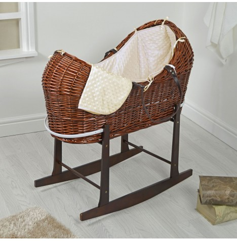 4baby Dark Wicker Snooze Pod & Rocking Stand - Cream Dimple..