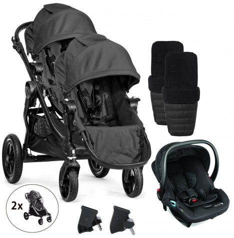 Baby Jogger City Select Tandem Travel System With Footmuffs & Raincovers - Black