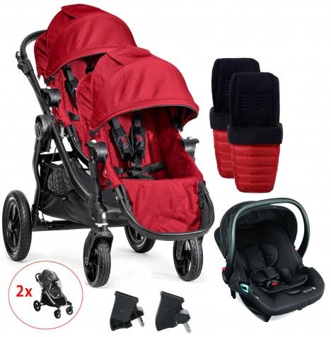 Baby Jogger City Select Tandem Travel System With Footmuffs & Raincovers - Red