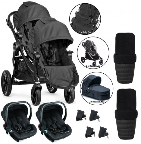 Baby Jogger City Select Tandem Travel System (Full Twin Package) - Black