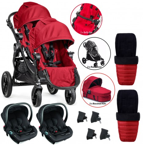 Baby Jogger City Select Tandem Travel System (Full Twin Package) - Red