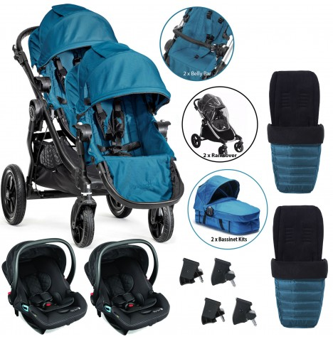 Baby Jogger City Select Tandem Travel System (Full Twin Package) - Teal