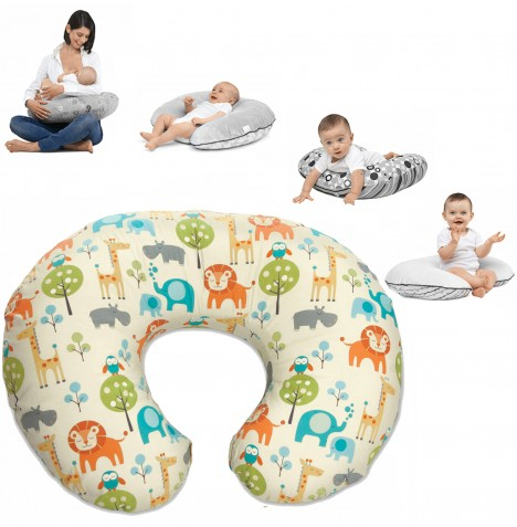 Chicco Boppy Baby Feeding & Nursing Pillow With Cotton Slip Cover - Peaceful Jungle