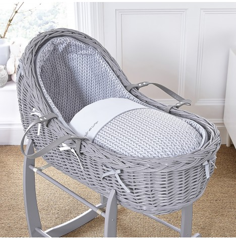 Clair De Lune Grey Willow Bassinet Moses Basket - Barley Bebe Grey