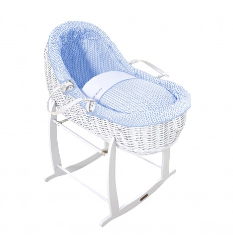 Clair De Lune White Willow Bassinet Moses Basket - Barley Bebe Blue