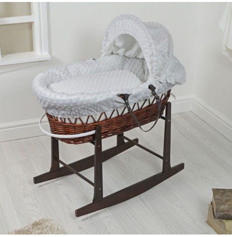 4Baby Padded Dark Wicker Moses Basket & Rocking Stand - Grey Dimple..