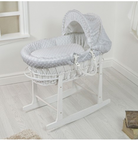 4Baby Padded White Wicker Moses Basket & Rocking Stand - Grey Dimple..