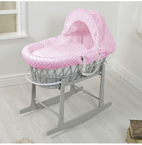 4Baby Padded Grey Wicker Moses Basket & Rocking Stand - Pink Dimple..