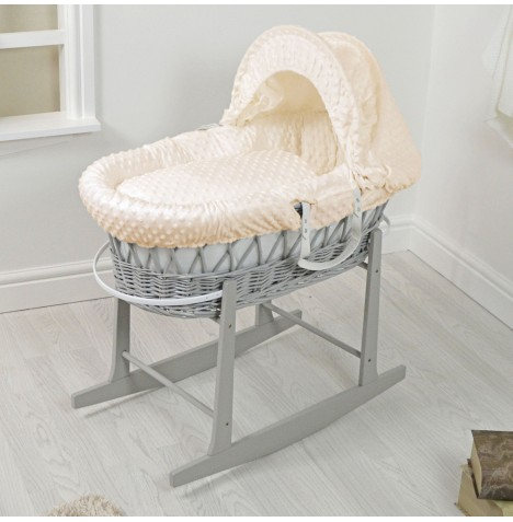 4Baby Padded Grey Wicker Moses Basket & Rocking Stand - Cream Dimple..