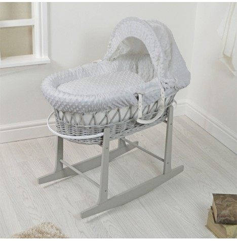 4Baby Padded Grey Wicker Moses Basket & Rocking Stand - Grey Dimple..