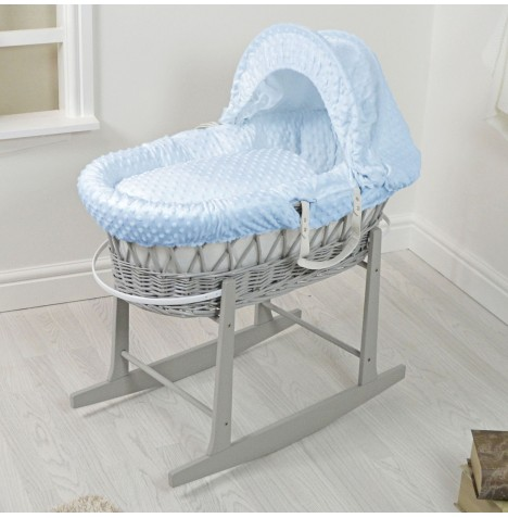 4Baby Padded Grey Wicker Moses Basket & Rocking Stand - Blue Dimple..