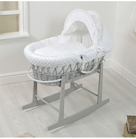 4Baby Padded Grey Wicker Moses Basket & Rocking Stand - White Dimple..