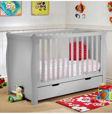4Baby 3 in 1 Sleigh Cot With Drawer & Sprung Mattress - Grey