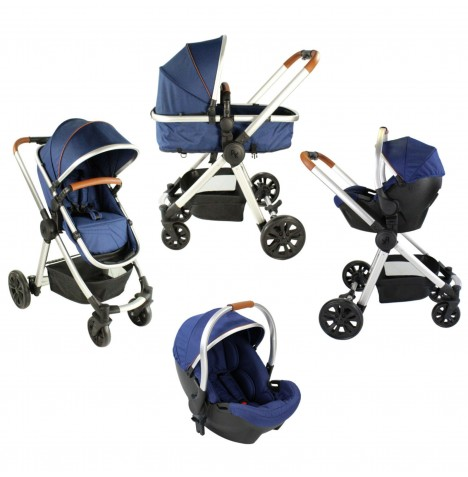 Red Kite Push Me Fusion 3in1 Pram / Pushchair Travel System - Navy