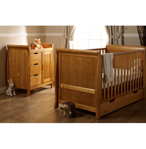 Obaby Stamford Sleigh 2 Piece Room Set - Country Pine