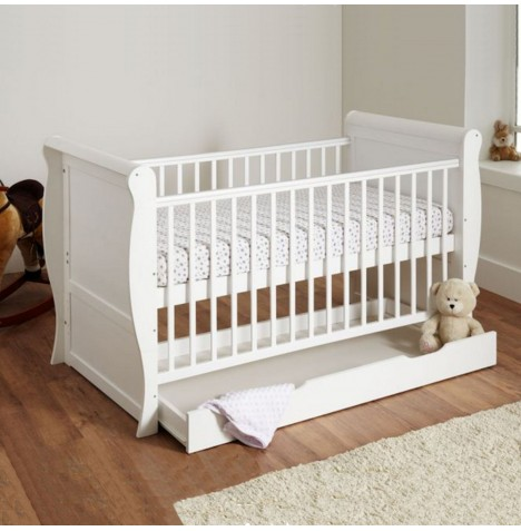 4baby Sleigh Cot Bed With Storage Drawer & Maxi Air Cool Mattress - White