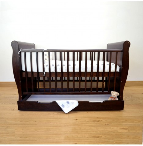4Baby Sleigh Cot Bed With Storage Drawer & Foam Mattress - Cocoa