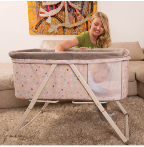 Hauck Dreamer Bassinet / Travel Cot / Cradle - Multi Dots Sand