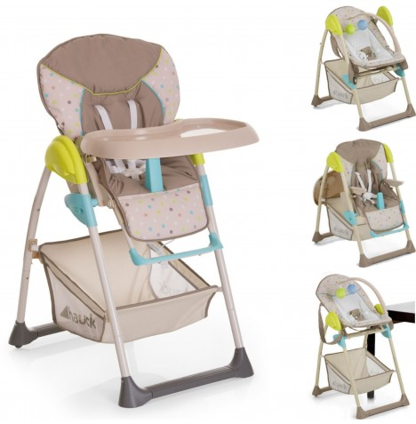 Hauck Sit n Relax 2 in 1 Highchair / Bouncer - Multi Dots Sand