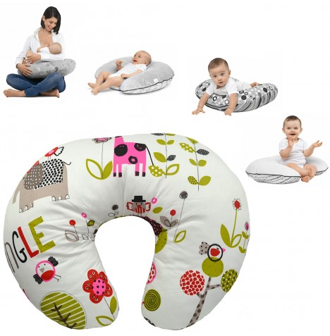 4Baby 4 in 1 Nursing / Pregnancy Pillow / Cushion - Jungle Pink..