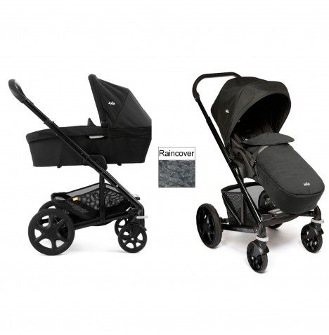 Joie Chrome Plus Carrycot & Pushchair Black Frame - Black Carbon