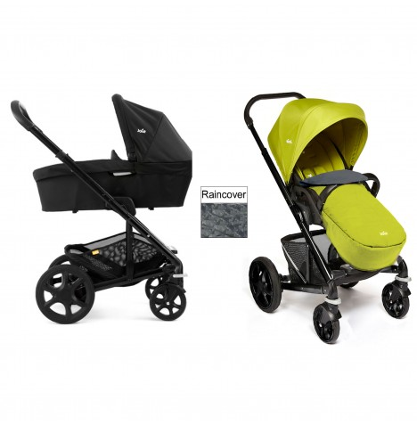 Joie Chrome Plus Carrycot & Pushchair Black Frame - Green