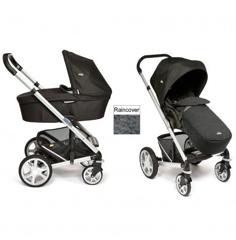 Joie Chrome Plus Carrycot & Pushchair Silver Frame - Black