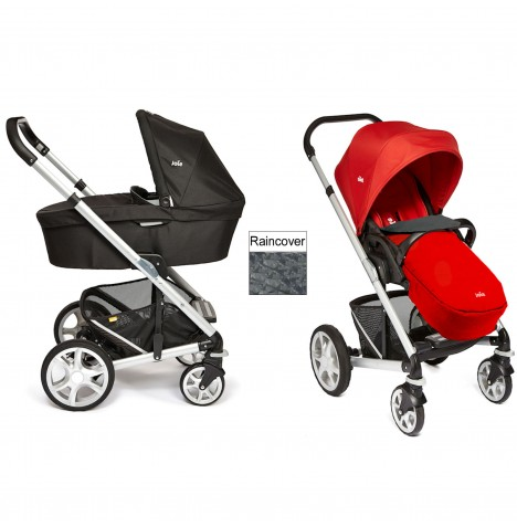 Joie Chrome Plus Carrycot & Pushchair Silver Frame - Tomato Red